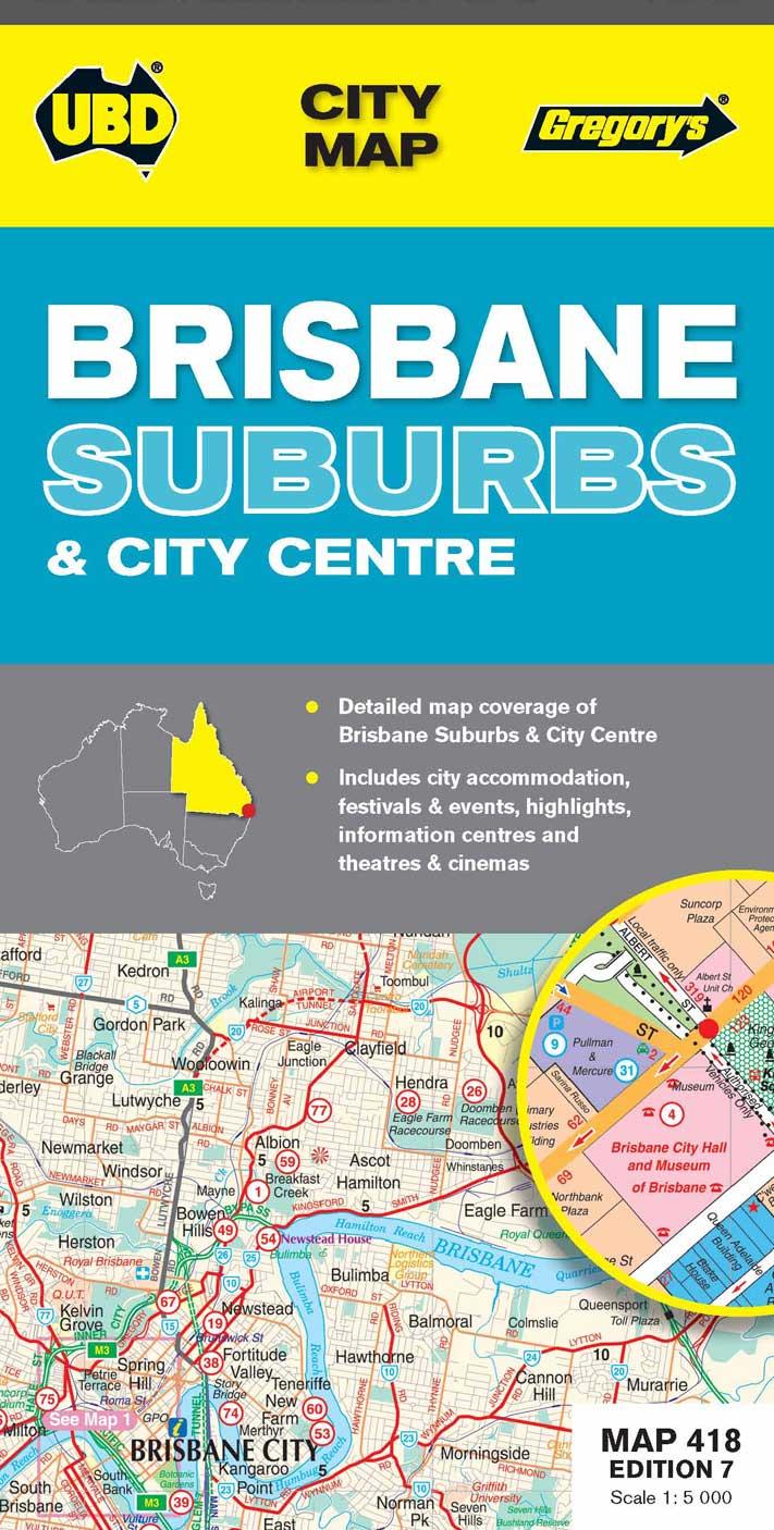 UBDGregorys Brisbane City Streets Suburbs Map RAA